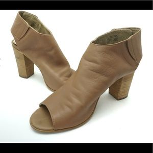 Steve Madden tan sling back stacked booties